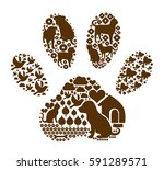 paw with pattern | Shutterstock .eps vector #591289571