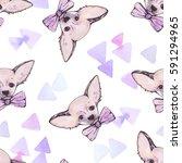 watercolor dog seamless pattern ...   Shutterstock . vector #591294965