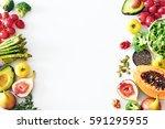 fresh veggies and fruits frame...   Shutterstock . vector #591295955