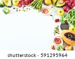 clean eating food frame with... | Shutterstock . vector #591295964