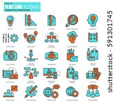 flat line creative process and... | Shutterstock .eps vector #591301745