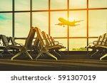 passenger seat in departure... | Shutterstock . vector #591307019