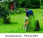 ride on lawn mower cutting... | Shutterstock . vector #59131393