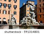 ancient square in rome  italy... | Shutterstock . vector #591314801