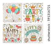 set of birthday hand drawn... | Shutterstock .eps vector #591316721