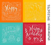 set of birthday hand drawn... | Shutterstock .eps vector #591316751