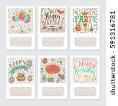 set of birthday greeting cards... | Shutterstock .eps vector #591316781