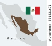 mexico map with flag  | Shutterstock .eps vector #591321671