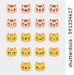 cat emoticons vector   Shutterstock .eps vector #591324617
