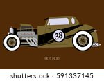gold hot rod  side view of car  ... | Shutterstock .eps vector #591337145