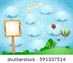 surreal landscape with hot air... | Shutterstock .eps vector #591337514