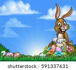 an easter background cartoon... | Shutterstock .eps vector #591337631