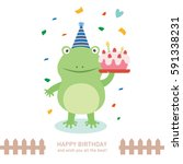 cute frog with happy birthday.... | Shutterstock .eps vector #591338231