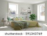 white bedroom with winter... | Shutterstock . vector #591343769