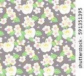 vector stylised flower colorful ... | Shutterstock .eps vector #591351395