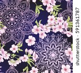 seamless pattern with japanese... | Shutterstock .eps vector #591361787