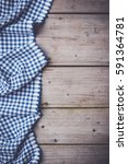 Blue Checkered Tablecloth On An ...