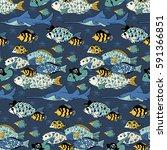 vector sea life seamless... | Shutterstock .eps vector #591366851