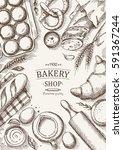 bakery background. linear...   Shutterstock .eps vector #591367244