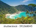 trail to sumaca beach  paraty ... | Shutterstock . vector #591368045