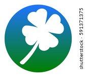 leaf clover sign. vector. white ...