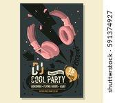 dj party poster flyer design... | Shutterstock .eps vector #591374927