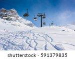 ski lift background cervinia | Shutterstock . vector #591379835
