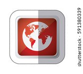 sticker red square button with... | Shutterstock .eps vector #591380339