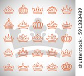 crown icons set isolated on... | Shutterstock .eps vector #591383489