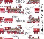 watercolor retro train... | Shutterstock . vector #591383759
