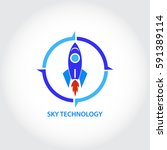 rocket sky technology logo | Shutterstock .eps vector #591389114