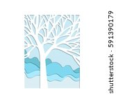 abstract winter tree  cut from... | Shutterstock .eps vector #591390179