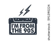 hand drawn 90s themed badge... | Shutterstock .eps vector #591390224