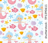 childish nautical seamless... | Shutterstock .eps vector #591390611
