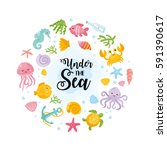 under the sea card.... | Shutterstock .eps vector #591390617