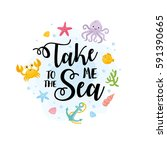 take me to the sea card.... | Shutterstock .eps vector #591390665