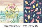 just be happy banner in trendy... | Shutterstock .eps vector #591394715