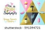 hello spring poster  banner in... | Shutterstock .eps vector #591394721