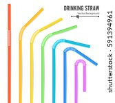 colorful drinking straws vector.... | Shutterstock .eps vector #591394961