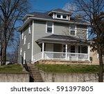 gray american foursquare house... | Shutterstock . vector #591397805