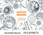 breakfasts and brunches top... | Shutterstock .eps vector #591399875