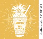 smoothie. vegan  typography... | Shutterstock . vector #591405521