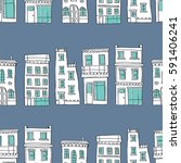 seamless pattern of buildings.... | Shutterstock .eps vector #591406241