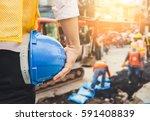 engineer orders for workers to...   Shutterstock . vector #591408839