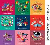 carnival flat design set vector ... | Shutterstock .eps vector #591410279
