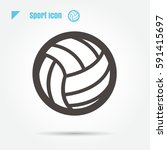 icon volleyball sport vector... | Shutterstock .eps vector #591415697