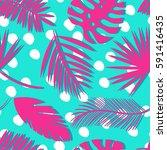 seamless tropical vector... | Shutterstock .eps vector #591416435