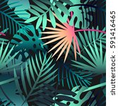 seamless tropical vector... | Shutterstock .eps vector #591416465