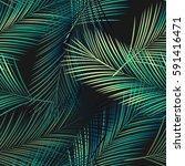 seamless tropical vector... | Shutterstock .eps vector #591416471