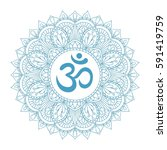 aum om ohm symbol in decorative ... | Shutterstock .eps vector #591419759